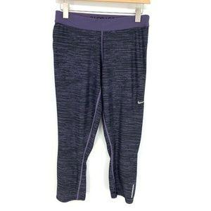 Nike Purple Relay Print Crop Capri Running Tights